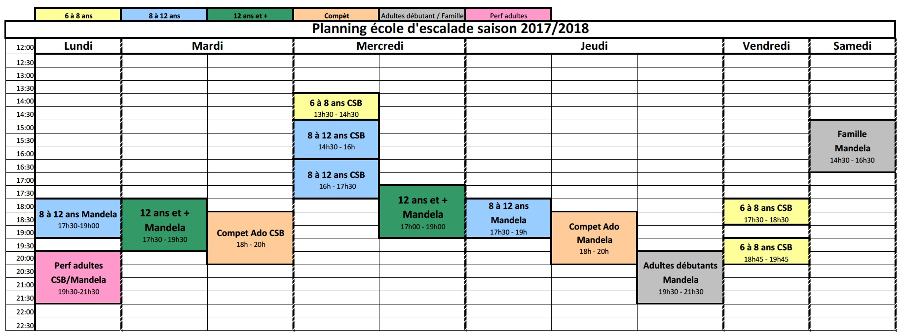planning école d'escalade
