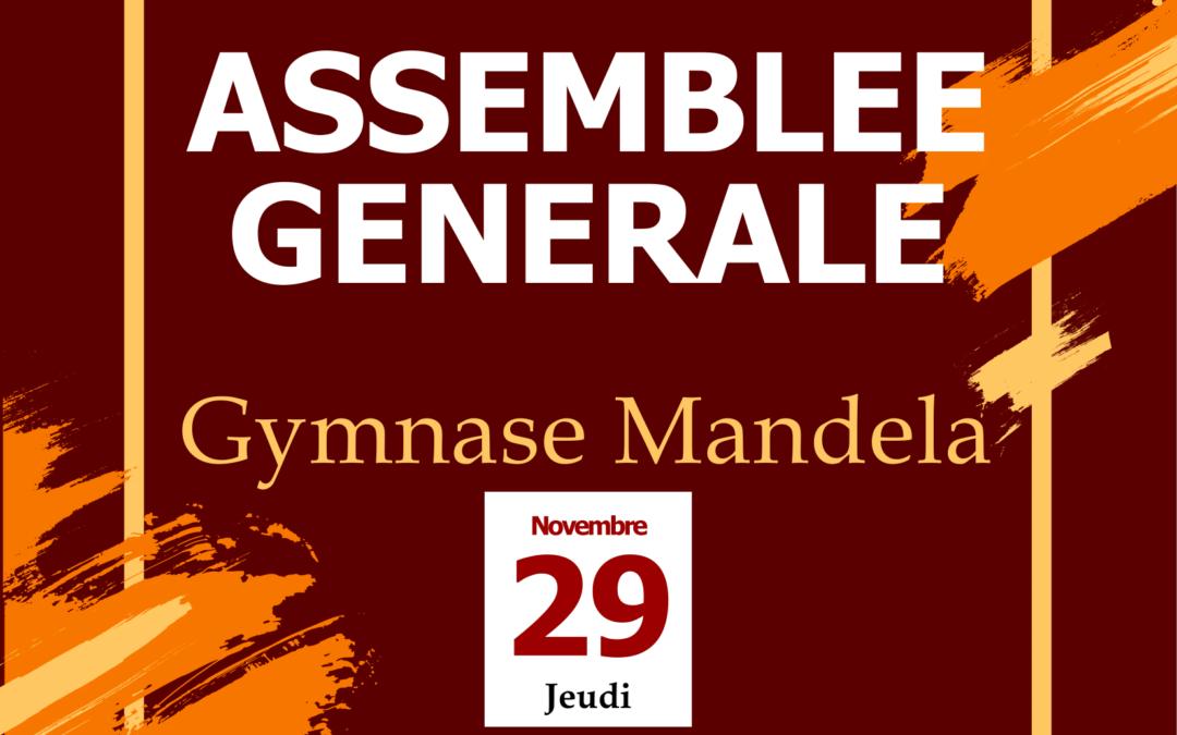 Assemblée Générale Annuelle – Jeudi 29 Novembre 2018 – Gymnase Mandela